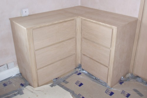 Oak Veneered Drawer Set